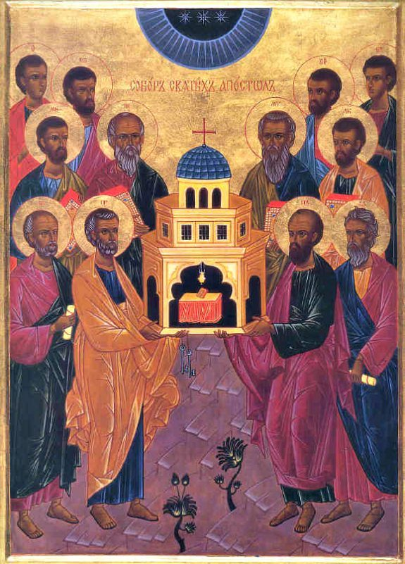 The Apostles Holding The Church
